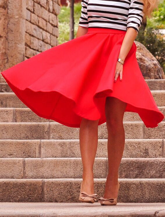 OL Pleated Pure Color Flared A-line Knee-legth Skirt - Oh Yours Fashion - 5