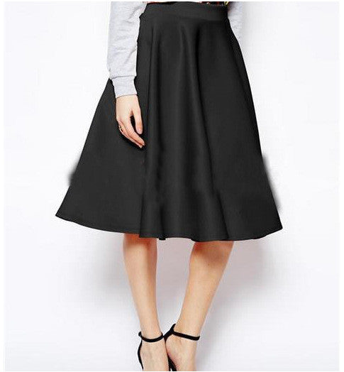 OL Pleated Pure Color Flared A-line Knee-legth Skirt - Oh Yours Fashion - 4