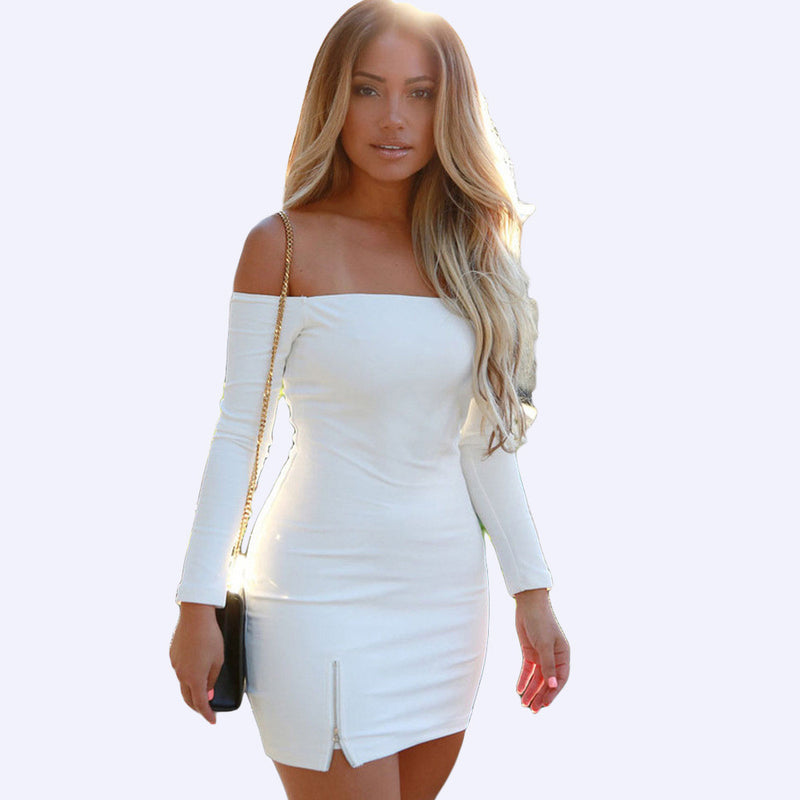 Pure Color Off Shoulder Bodycon Short Dress - Oh Yours Fashion - 5