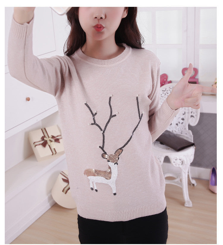 Scoop Ribbed Knit Cartoon Pattern Loose Pullover Short Sweater - Oh Yours Fashion - 1