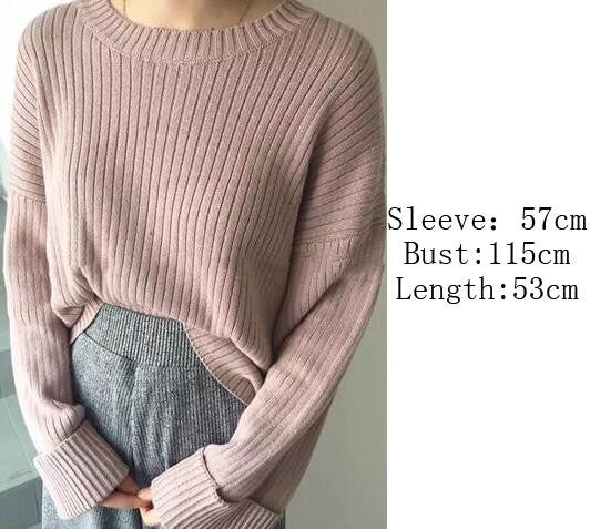 Retro Loose Ribbed Knit Bell Long-Sleeved Sweater - Oh Yours Fashion - 4