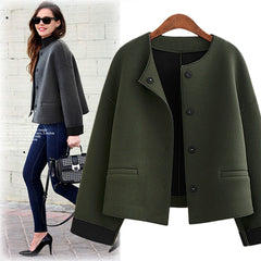 Scoop Loose Long Sleeves Brief Wool Short Coat - Oh Yours Fashion - 1