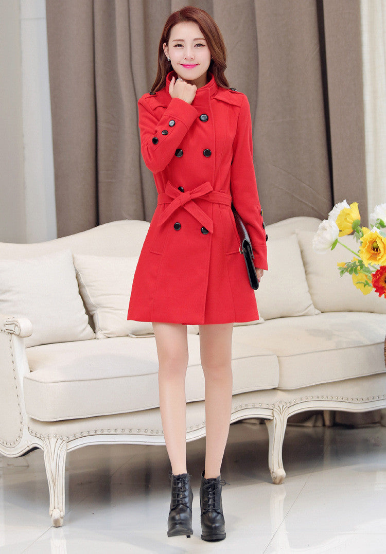Double Breasted Stand Collar Belt Slim Long Plus Size Coat - Oh Yours Fashion - 7