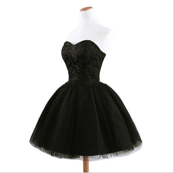 Strapless Short Solid Color Little Black Dress - Oh Yours Fashion - 4