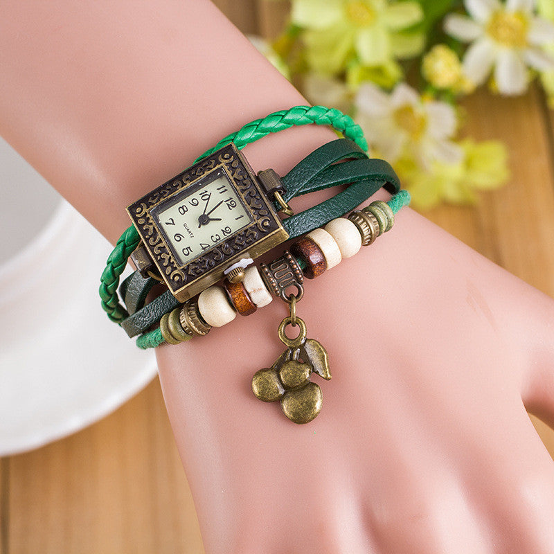 Retro Square Dial Cherry Bracelet Watch - Oh Yours Fashion - 5