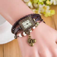 Retro Square Dial Cherry Bracelet Watch - Oh Yours Fashion - 8