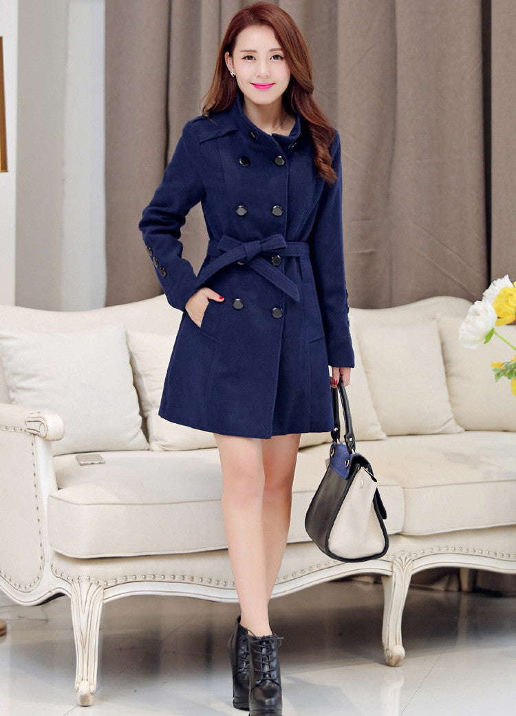 Double Breasted Stand Collar Belt Slim Long Plus Size Coat - Oh Yours Fashion - 4