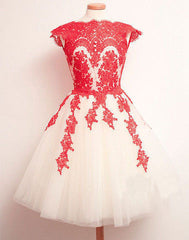 Embroidery Mesh Cap Sleeve Short Prom Dress - Oh Yours Fashion - 2
