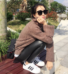 Asymmetric Pure Color Lapel High Collar Pullover Sweater - Oh Yours Fashion - 1