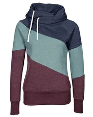 Color Block Patchwork High Neck Sport Hoodie - O Yours Fashion - 6