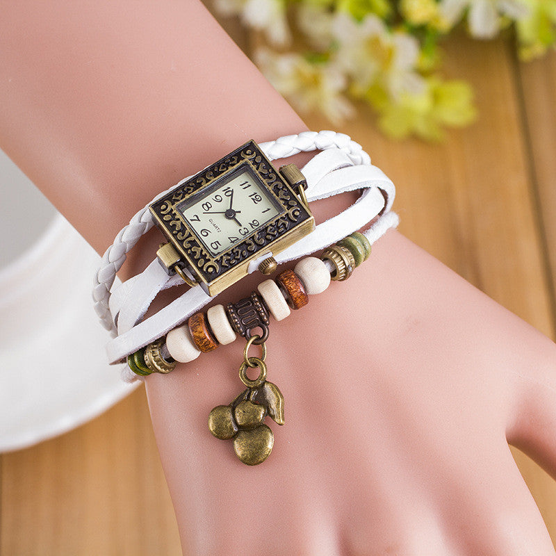 Retro Square Dial Cherry Bracelet Watch - Oh Yours Fashion - 2