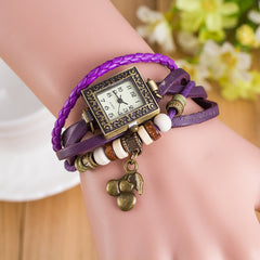 Retro Square Dial Cherry Bracelet Watch - Oh Yours Fashion - 4