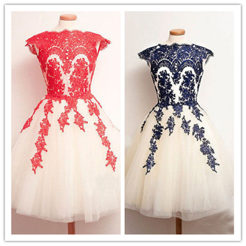 Embroidery Mesh Cap Sleeve Short Prom Dress