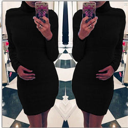 Fashion Sanding High Neck Long Sleeve Bodycon Short Dress - Oh Yours Fashion - 1