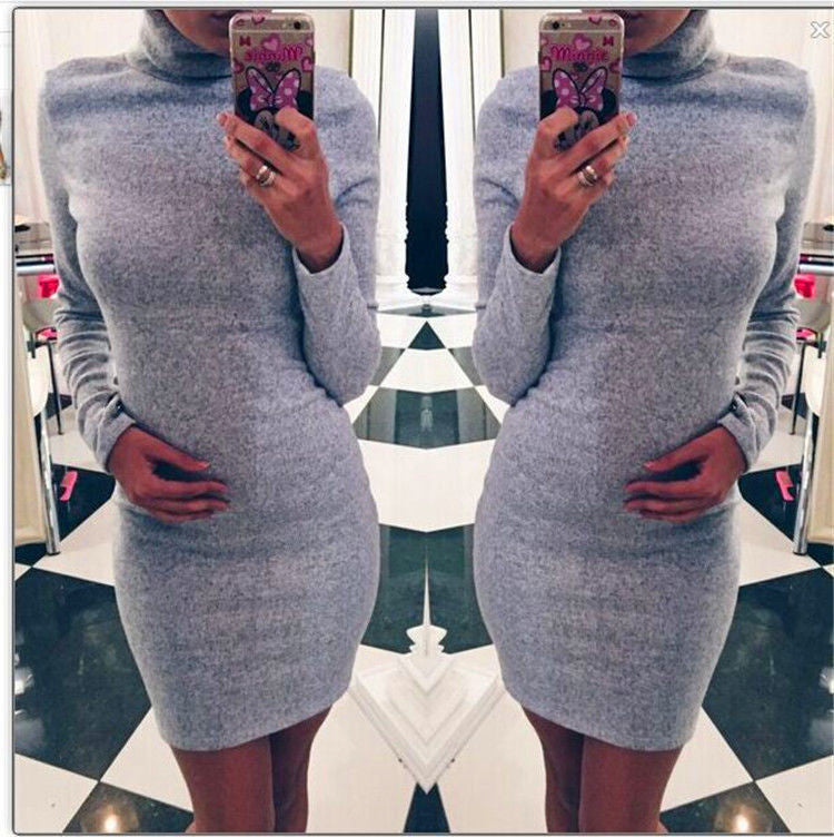 Fashion Sanding High Neck Long Sleeve Bodycon Short Dress - Oh Yours Fashion - 4
