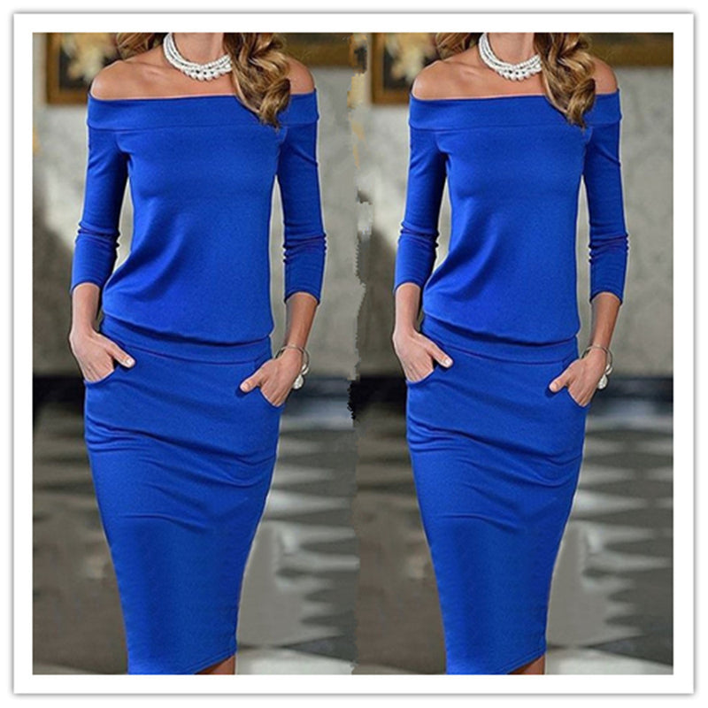 Off-shoulder Sheath Pocket with Bodycon Long Dress - Oh Yours Fashion - 2