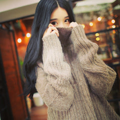 Asymmetric Pure Color Lapel High Collar Pullover Sweater - Oh Yours Fashion - 3