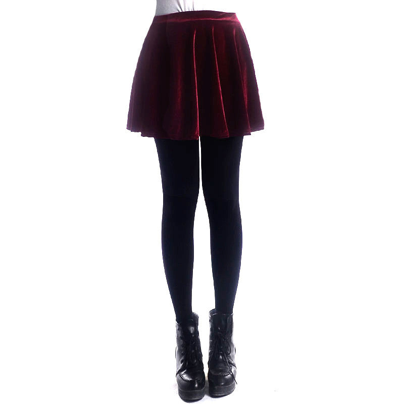 Retro Style Velvet A-Line Flared Short Skirt - Oh Yours Fashion - 7