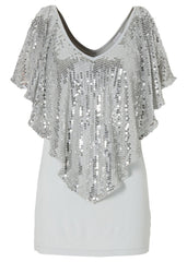 Shawl Sequins Splicing Sexy Stretch Blouse - Oh Yours Fashion - 5
