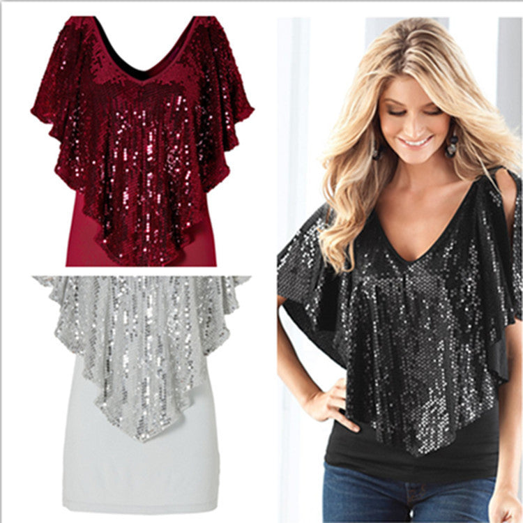 Shawl Sequins Splicing Sexy Stretch Blouse - Oh Yours Fashion - 1