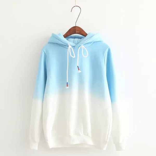 Gradient Color Korean Hooded Long Sleeves Hoodie - Oh Yours Fashion - 1