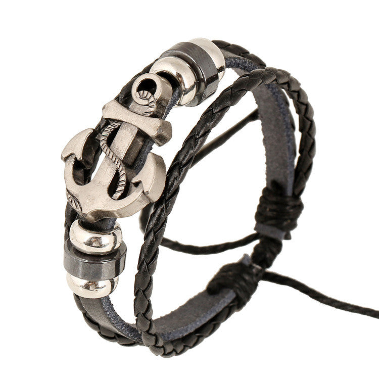 Fashion Beaded Anchor Leather Bracelet - Oh Yours Fashion - 1