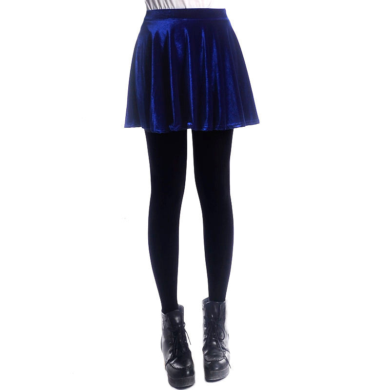 Retro Style Velvet A-Line Flared Short Skirt - Oh Yours Fashion - 8