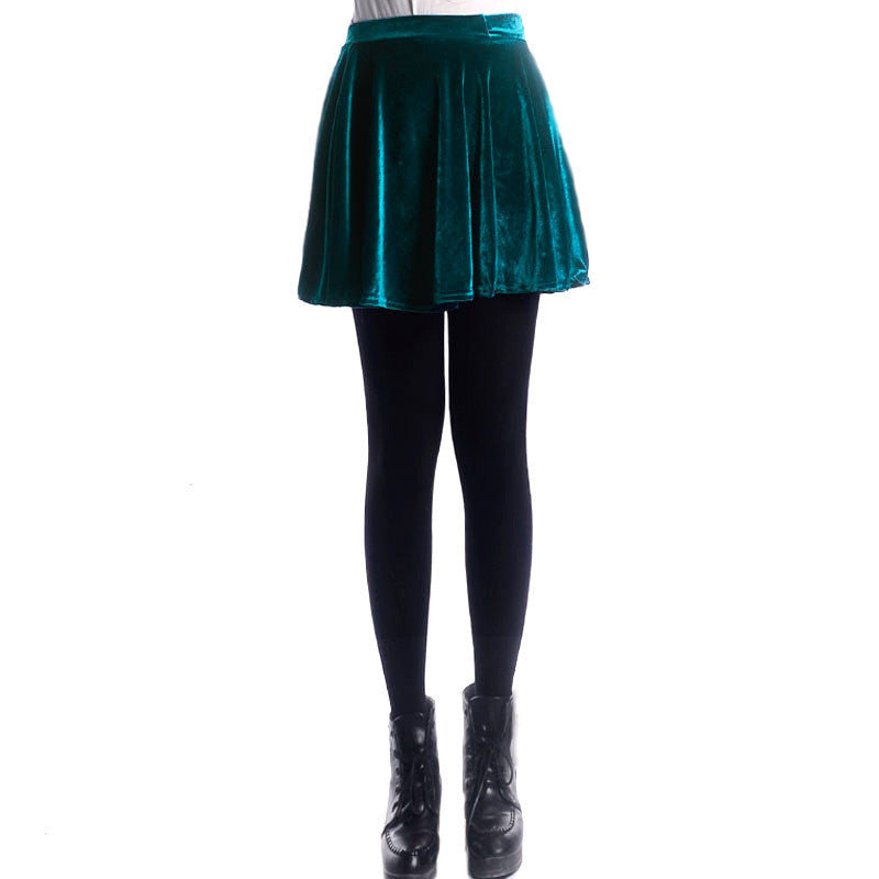 Retro Style Velvet A-Line Flared Short Skirt - Oh Yours Fashion - 5