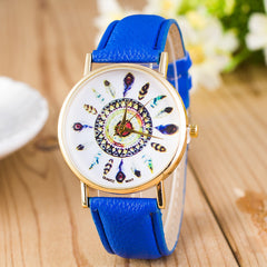 Beautiful Peacock Feather Leather Watch - Oh Yours Fashion - 5