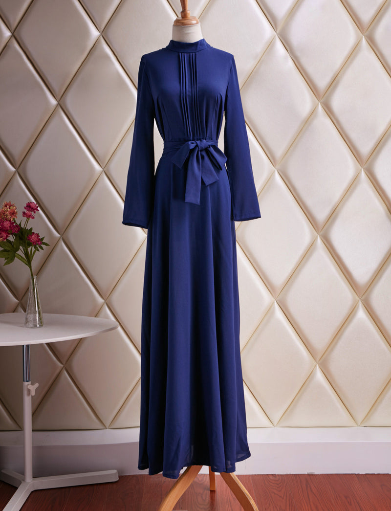 Blue Round Neck Long Sleeve Belt Long Dress - Oh Yours Fashion - 4