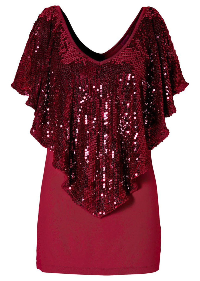 Shawl Sequins Splicing Sexy Stretch Blouse - Oh Yours Fashion - 4