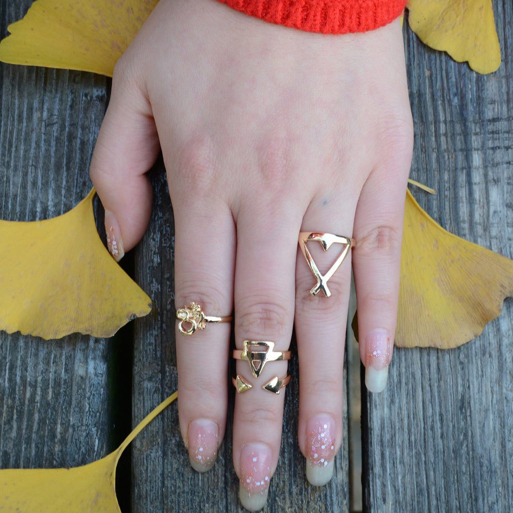 3D Geometric Triangle Free Combination Ring - Oh Yours Fashion - 1