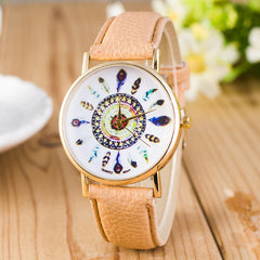 Beautiful Peacock Feather Leather Watch - Oh Yours Fashion - 3