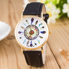 Beautiful Peacock Feather Leather Watch - Oh Yours Fashion - 7