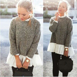Collar Splicing Solid Color Knit Lace Sweater - Oh Yours Fashion - 1