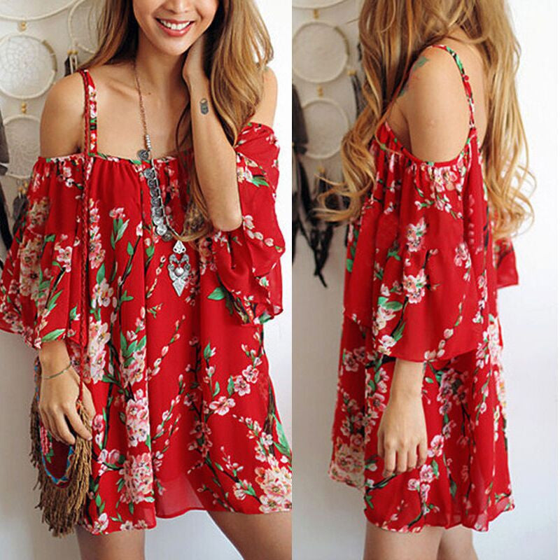 Spaghetti Strap Print Off Shoulder Short Sleeve Short Dress - Oh Yours Fashion - 1