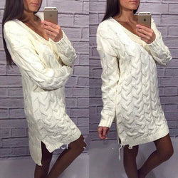 Fashion Dip Hem Braid Knitting Long Sweater - Oh Yours Fashion - 1
