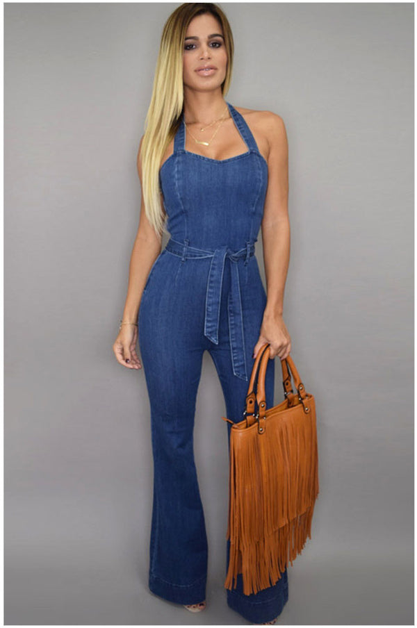 Halter Bell-bottoms Sheath Backless Pure Denim Jumpsuits - Oh Yours Fashion - 2