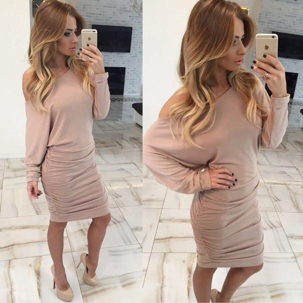 Fold Off-Shoulder Long Sleeve Knee-Length Dress - Meet Yours Fashion - 6