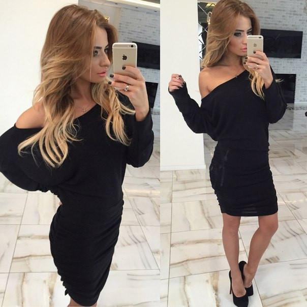 Fold Off-Shoulder Long Sleeve Knee-Length Dress - Meet Yours Fashion - 5