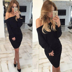 Fold Off-Shoulder Long Sleeve Knee-Length Dress - Meet Yours Fashion - 2