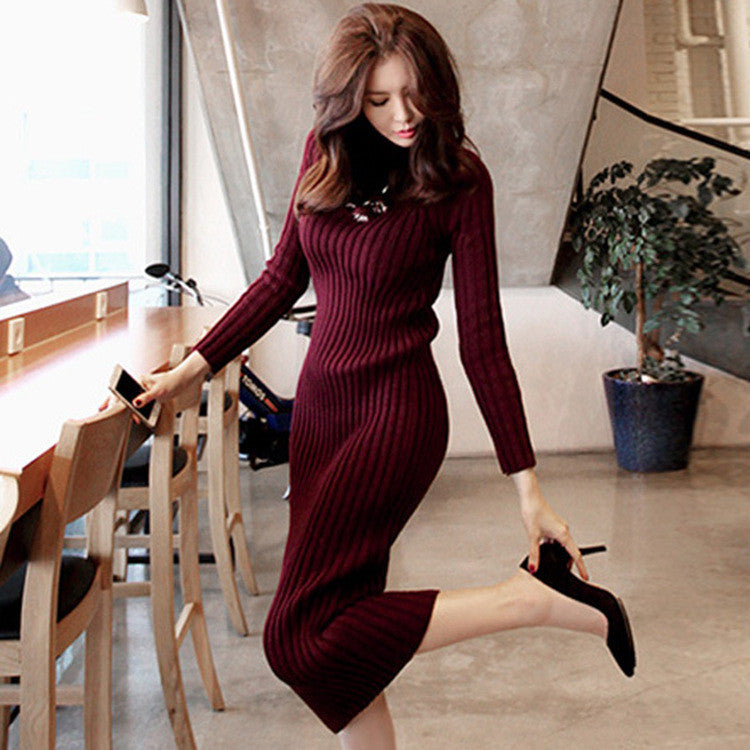 Fashion Ribbed High Neck Long Sleeve Knit Long Sweater - Oh Yours Fashion - 4