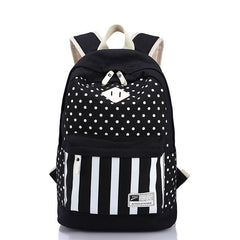 Polka Dot And Strip Print School Backpack Canvas Bag - Oh Yours Fashion - 3