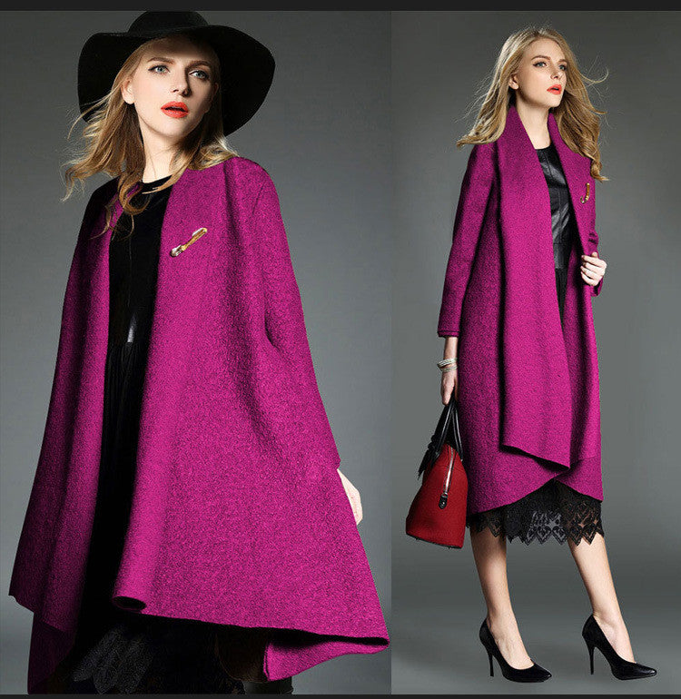 Drape Loose Asymmetric Solid Long Coat - Oh Yours Fashion - 7