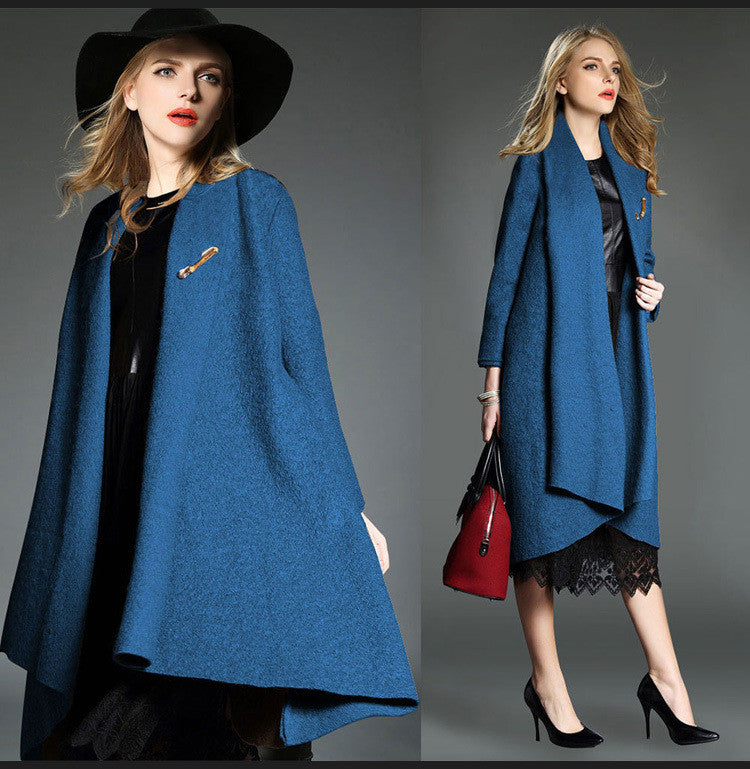 Drape Loose Asymmetric Solid Long Coat - Oh Yours Fashion - 2