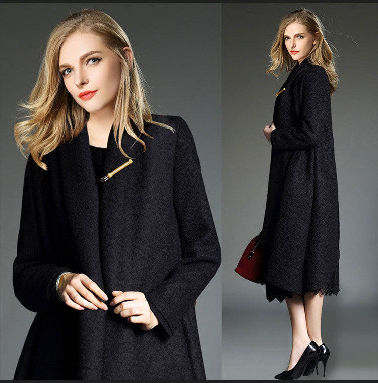 Drape Loose Asymmetric Solid Long Coat - Oh Yours Fashion - 9