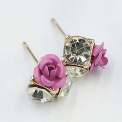 Ceramic Roses Diamond Earring - Oh Yours Fashion - 7