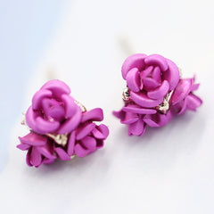 Ceramic Roses Diamond Earring - Oh Yours Fashion - 3