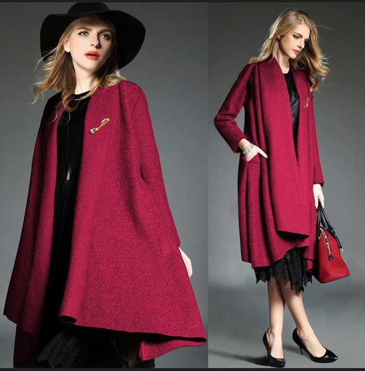 Drape Loose Asymmetric Solid Long Coat - Oh Yours Fashion - 1