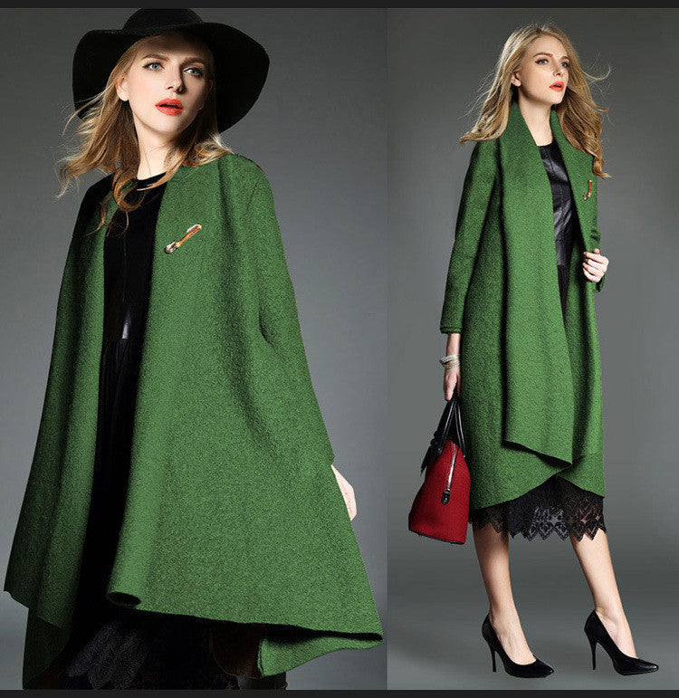 Drape Loose Asymmetric Solid Long Coat - Oh Yours Fashion - 6